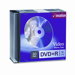Imation 17616 Dvd+R Discs, 4.7Gb, 16X, W/Slim Jewel Cases, Silver, 10/Pack