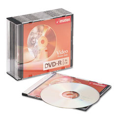 Imation 17619 Dvd-R Discs, 4.7Gb, 16X, Slim Jewel Cases, Silver, 10/Pack