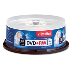 Imation 27134 Dvd+Rw Discs, 4.7Gb, 8X, Spindle, Silver, 25/Pack