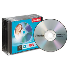 Imation 40955 Cd-Rw Discs, 700Mb/80Min, 4X, W/Slim Jewel Cases, Silver, 10/Pack