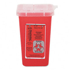 Impact 7350 Sharps Waste Receptacle, Square, Plastic, 1 Qt, Red