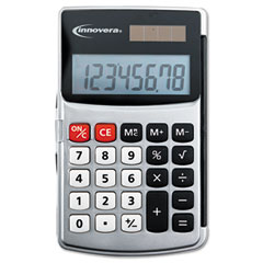 Innovera 15920 Handheld Calculator, Hard Flip Case, 8-Digit Lcd, Dual Power, Silver