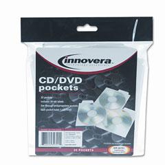 Innovera - cd/dvd pockets, 25/pack, sold as 1 pk