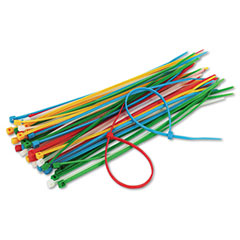 Innovera 39950 Cable Ties, 6-3/8 Length, Assorted Colors, 50 Ties/Pack