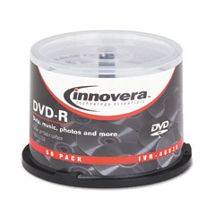 Innovera - dvd-r discs, hub printable, 4.7gb, 16x, spindle, matte white, 50/pack, sold as 1 pk