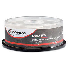 Innovera - dvd-rw discs, 4.7gb, 4x, spindle, silver, 25/pack, sold as 1 pk