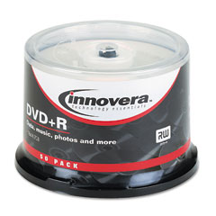 Innovera - dvd+r discs, hub printable, 4.7gb, 16x, spindle, silver, 50/pack, sold as 1 pk