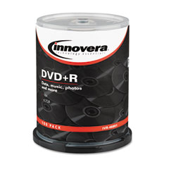 Innovera - dvd+r discs, hub printable, 4.7gb, 16x, spindle, silver, 100/pack, sold as 1 pk