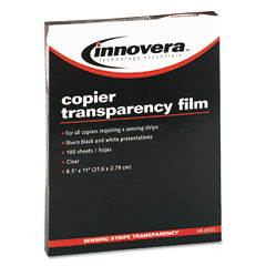 Innovera 65122 Copier Transparency Film, Removable Sensing Stripe, Letter, Clear, 100/Box