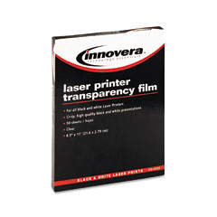 Innovera IVR65125 Laser Printer Transparency Film, Letter, Clear, 50/Box