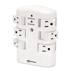 Innovera - wall mount surge protector, 6 outlets, 2160 joules, sold as 1 ea
