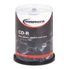 Innovera 77815 Cd-R Discs, Hub Printable, 700Mb/80Min, 52X, Spindle, Matte White, 100/Pk