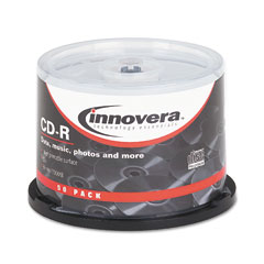 Innovera 77855 Cd-R Discs, Hub Printable, 700Mb/80Min, 52X, Spindle, Matte White, 50/Pack