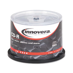 Innovera - cd-r discs, hub printable, 700mb/80min, 52x, spindle, silver, 50/pack, sold as 1 pk
