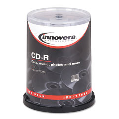 Innovera - cd-r discs, hub printable, 700mb/80min, 52x, spindle, silver, 100/pack, sold as 1 pk