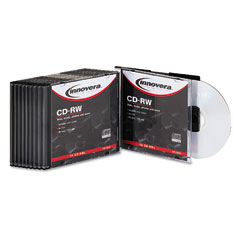 Innovera 78810 Cd-Rw Discs, 700Mb/80Min, 12X, W/Slim Jewel Cases, Silver, 10/Pk