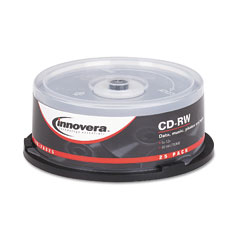 Innovera - cd-rw discs, hub printable, 700mb/80min, 12x, spindle, silver, 25/pack, sold as 1 pk