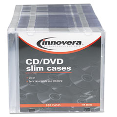 Innovera - cd/dvd polystyrene thin line storage case, clear, 100/pack, sold as 1 pk