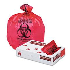 "Jaguar Plastics IW3339R Health Care ""Bio-Hazard"" Printed Liners, 1.3Mil, 33 X 39, Red, 150/Carton"