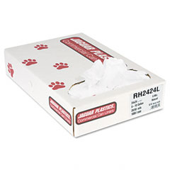 Jaguar Plastics RH2424L Regular Liners, 10 Gal, 6 Mic, 24 X 24,Natural, 20 Rolls Of 50 Bags, 1000/Carton