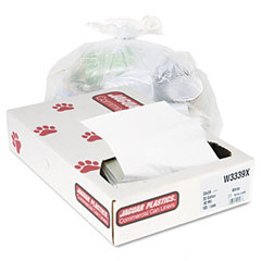 Jaguar Plastics W3339X Industrial Strength Commercial Can Liners, 33 Gal, .9Mil, White, 100/Carton