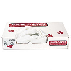 Jaguar Plastics W3858X Industrial Strength Commercial Can Liners, 60 Gal, .9 Mil, White, 100/Carton