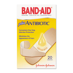 Johnson & Johnson 5570 Antibiotic Adhesive Bandages, Assorted Sizes, 20/Box