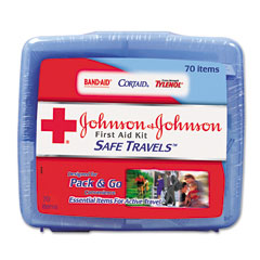 Johnson & Johnson 8274 Portable Travel First Aid Kit, 70 Pieces, Plastic Case