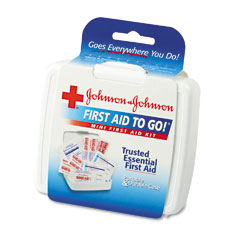 Johnson & Johnson 8295 Mini First Aid To Go Kit, 12 Pieces, Plastic Case