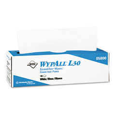 Kimberly-Clark 05800 Wypall L30 Wipers, 9 4/5 X 16 2/5, 100/Box, 8/Carton