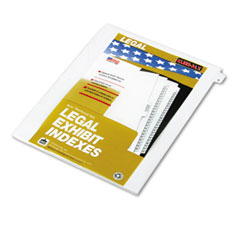 "Kleer-Fax 80001 80000 Series Legal Exhibit Index Dividers, 1/26 Cut Tab, ""A"", White, 25/Pack"