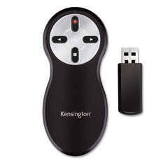 Kensington 33374 Wireless Presentation Remote, Integrated Laser Pointer, Projects 65 Feet, Black