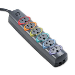 Kensington 62146 Smartsockets Color-Coded Strip Surge Protector, 6 Outlets, 6Ft Crd