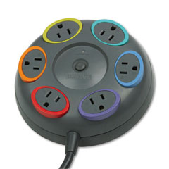 Kensington 62634 Smartsockets Color-Coded Tbltop Surge Protector, 6 Outlets, 16Ft Cord