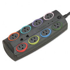 Kensington 62691 Smartsockets Prem Color-Coded Adaptr Surge Protctr, 8 Outlets, 8Ft Cord