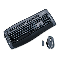 Kensington KMW64390 PilotBoard Wireless Laser Keyboard/Optical Mouse Combo, 30ft Range, USB, Black