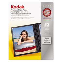 Kodak - premium photo paper, 64lb, glossy, 8-1/2 x 11, 50 sheets/pack, sold as 1 pk