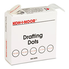 Koh-i-noor - adhesive drafting dots w/dispenser, 7/8in dia, white, 500/box, sold as 1 bx