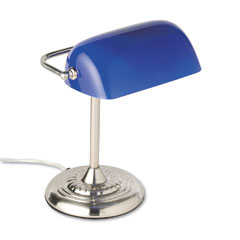 Ledu - traditional incandescent banker?????????s lamp, blue glass shade, chrome base, 14 inches, sold as 1 ea
