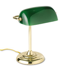 Ledu L557BR Traditional Incandescent Bankers Lamp, Green Glass Shade, Brass Base, 14 Inches