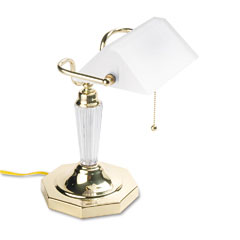 Ledu L658FR Incandescent Bankers Lamp, Glass Shade, Brass Base, Acrylic Arm, 14 Inches