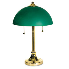 Ledu L9030 Taylor Incandescent Desk Lamp, Brass-Plated Base, Green Glass Shade, 19 Inches