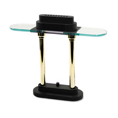 Ledu L9074 Halogen Desk Lamp, Black/Brass Base, Glass Shade, 15 Inches High