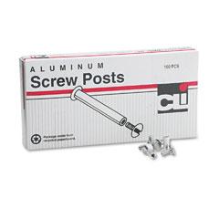 """Charles Leonard 3703L Post Binder Aluminum Screw Posts, 3/16"""" Diameter, 1/2"""" Long, 100/Box"""