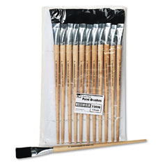 Charles leonard - long handle easel brush, size 22, natural bristle, flat, 12/pack, sold as 1 dz