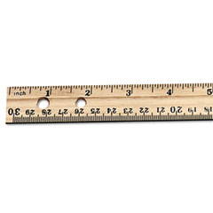 "Charles Leonard 77120 Economical Beveled Wood Ruler W/Single Metal Edge, 12"", Natural"