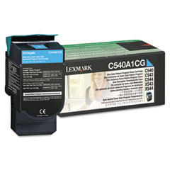 Lexmark - c540a1cg toner, 1000 page-yield, cyan, sold as 1 ea