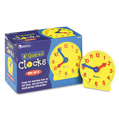 Learning Reasources LER2202 Set Of Six Four-Inch Geared Learning Clocks, For Grades Pre-K To 4