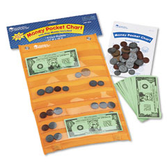 Learning Reasources LER2254 Money Pocket Chart With 115 Play Coins And 50 Play Bills, 9 3/4 X 16 1/2