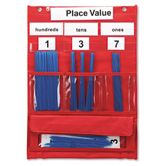 Learning resources - counting and place value pocket chart with cards, straws, 13 x 17 3/4, sold as 1 ea